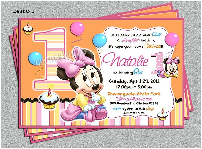Minnie Mouse First Birthday Invitation Templates