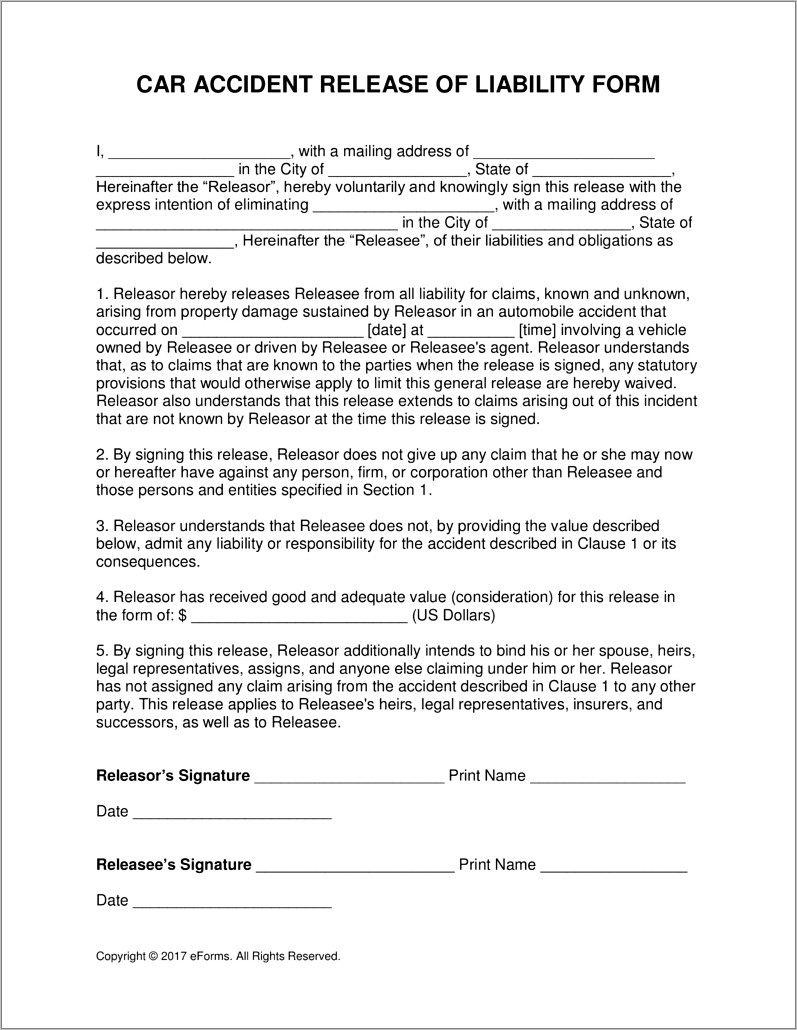 Minor Car Accident Settlement Agreement Form