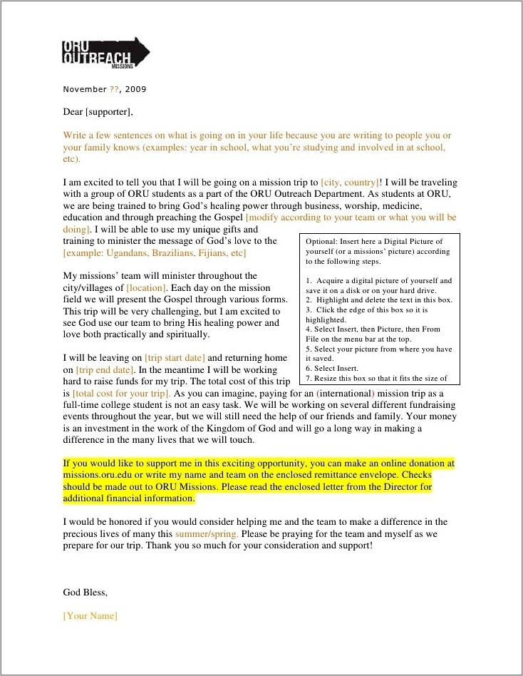 Mission Support Letter Example