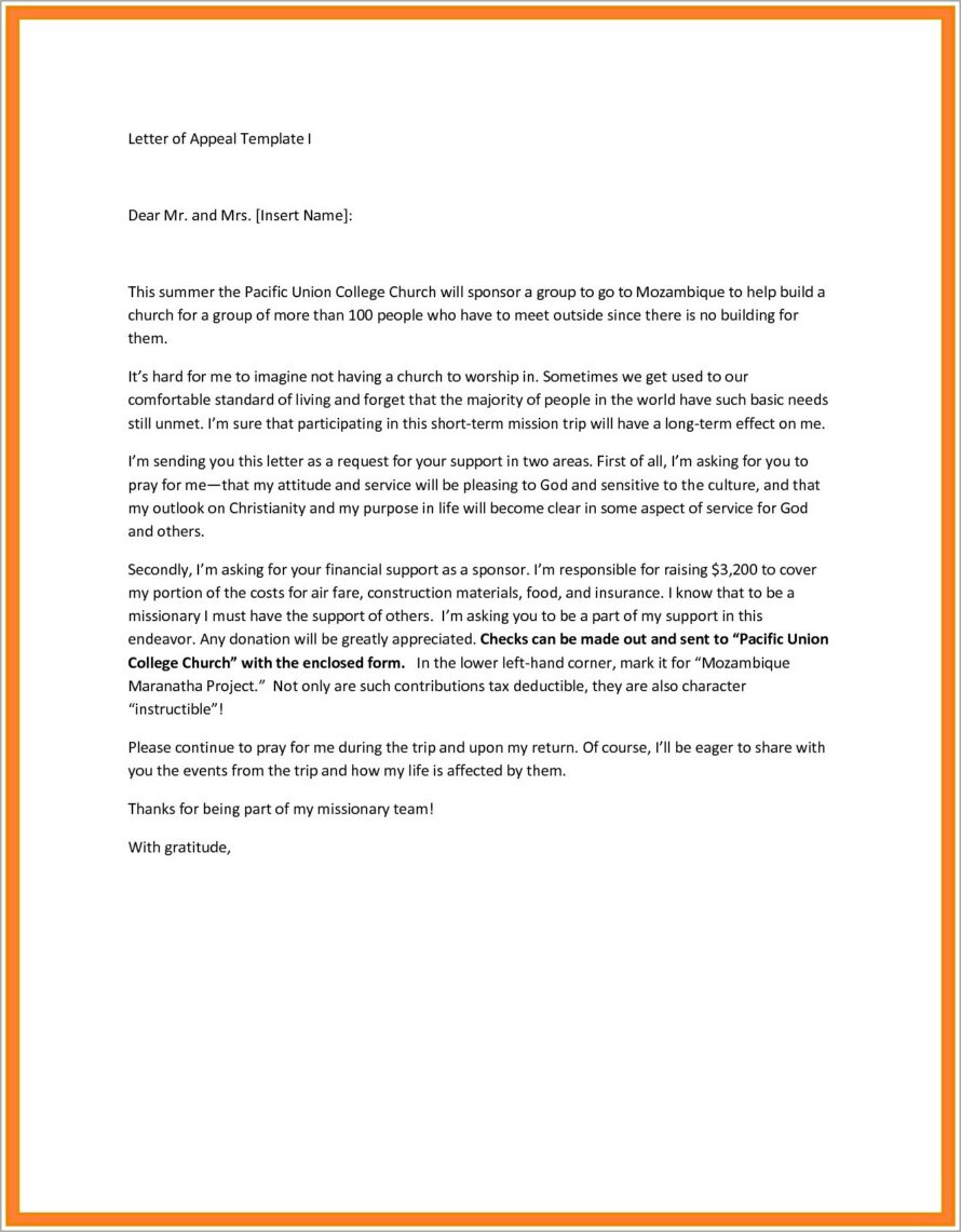 Missionary Support Letter Template