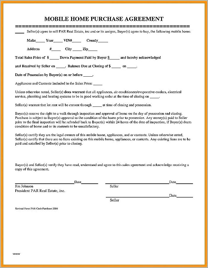Mobile Home Purchase Agreement Form Free