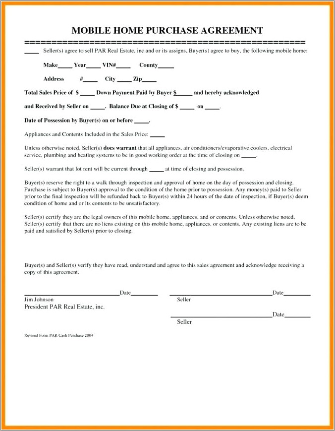 Mobile Home Purchase Contract Sample