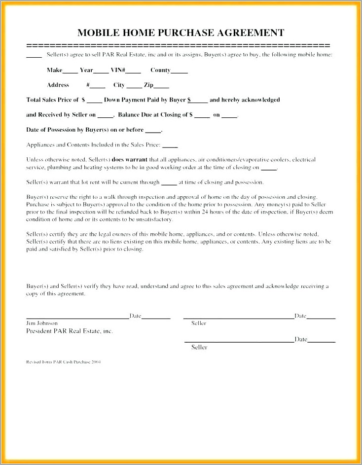 Mobile Home Sales Agreement Template