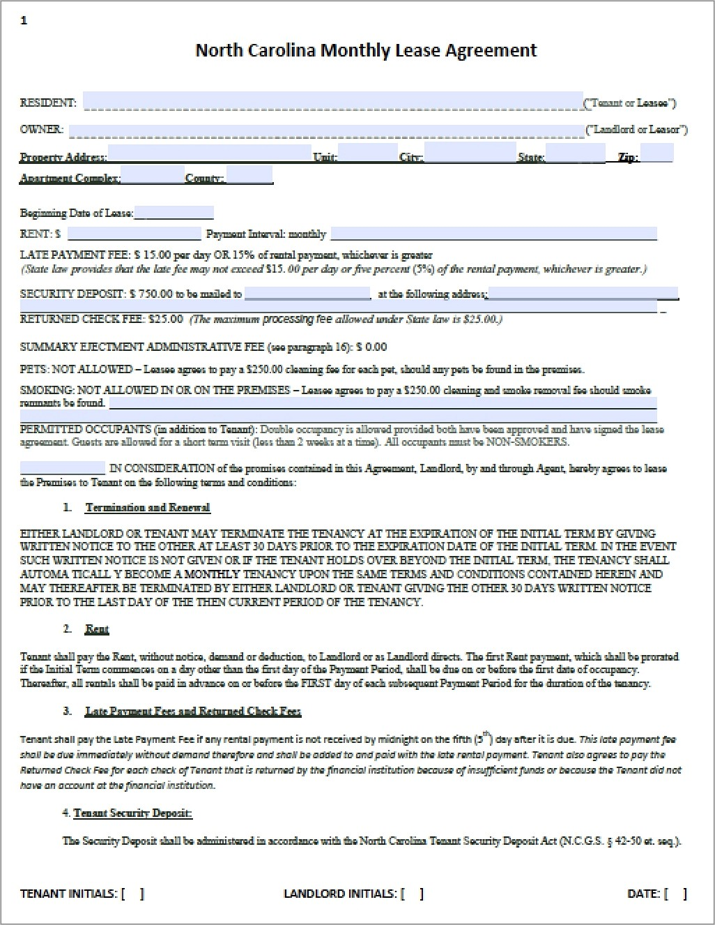 Month To Month Lease Template Pdf