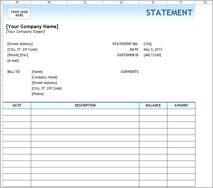 Monthly Bank Statement Sample