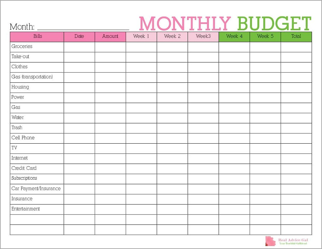 Monthly Budget Planner Template India