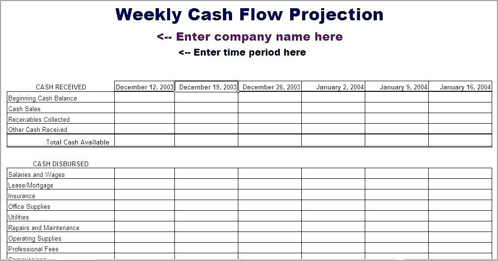 Monthly Cash Flow Statement Format