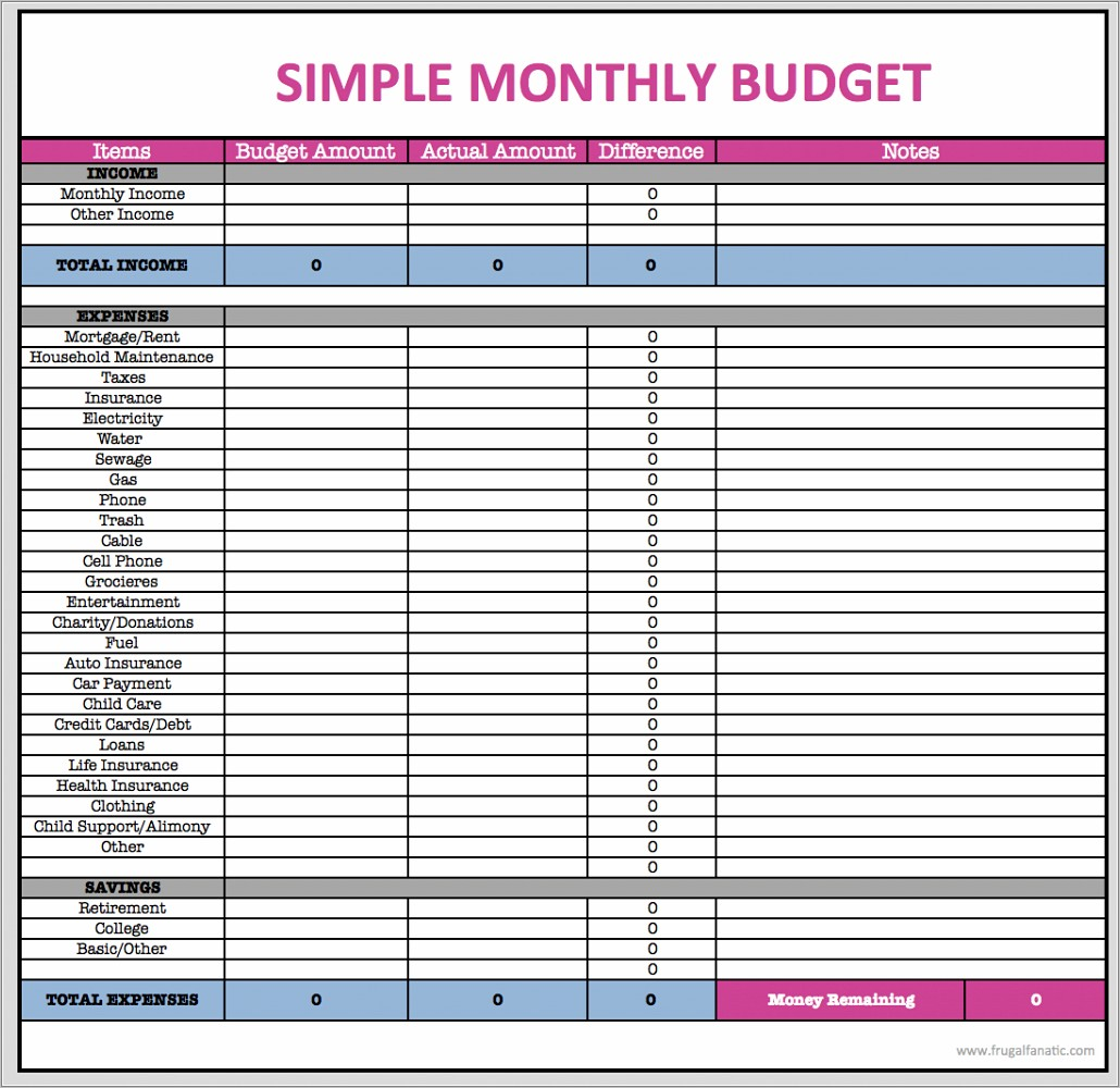 Monthly Household Budget Template Printable