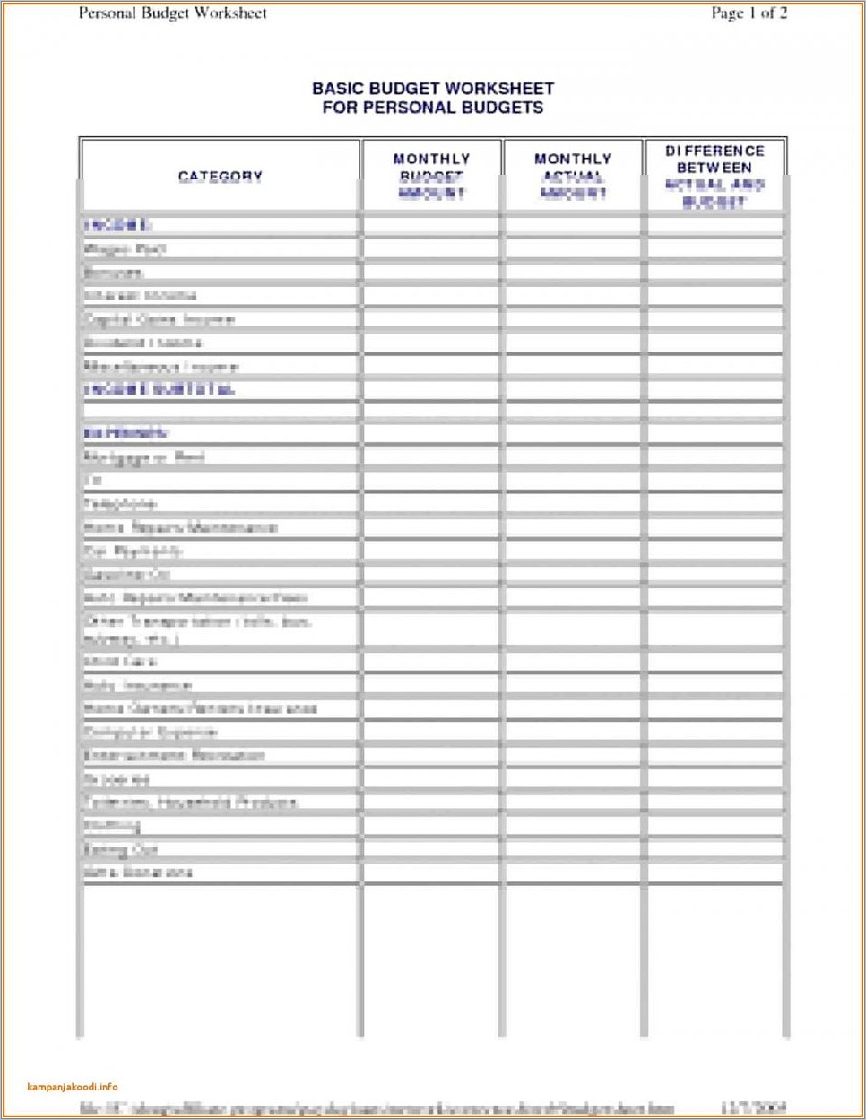 Monthly Household Budget Template Uk