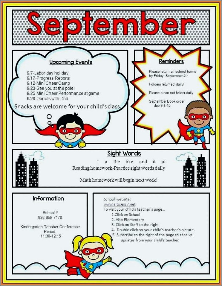 Monthly Newsletter Template For School