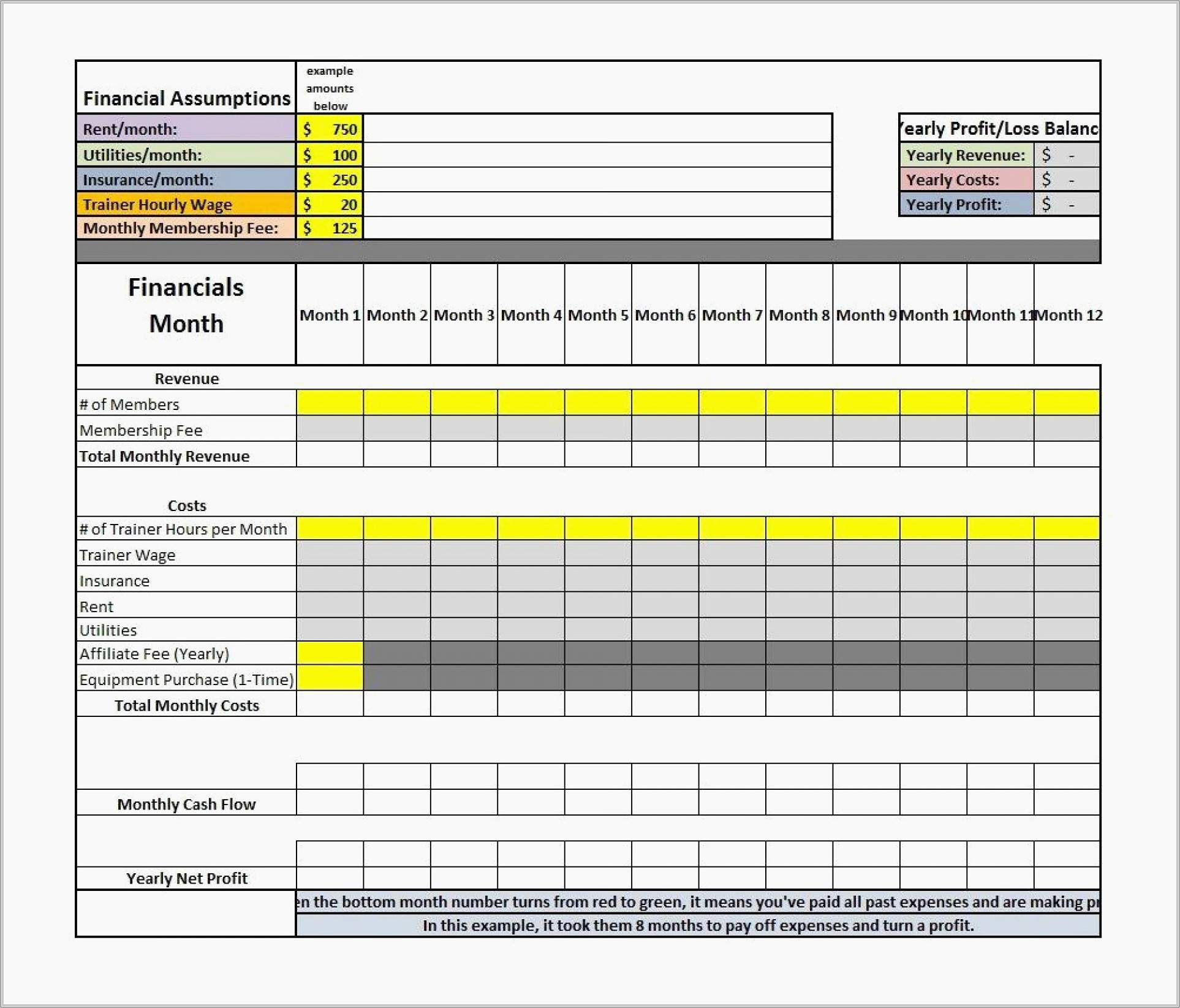 Monthly Pl Statement Template