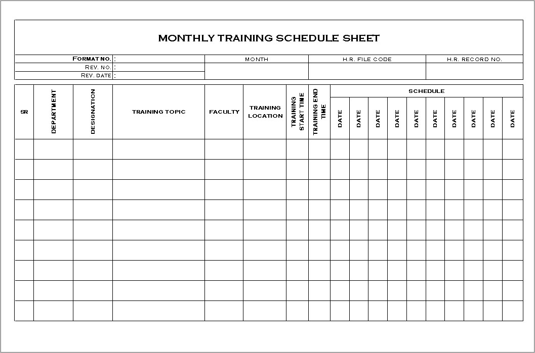Monthly Training Schedule Format