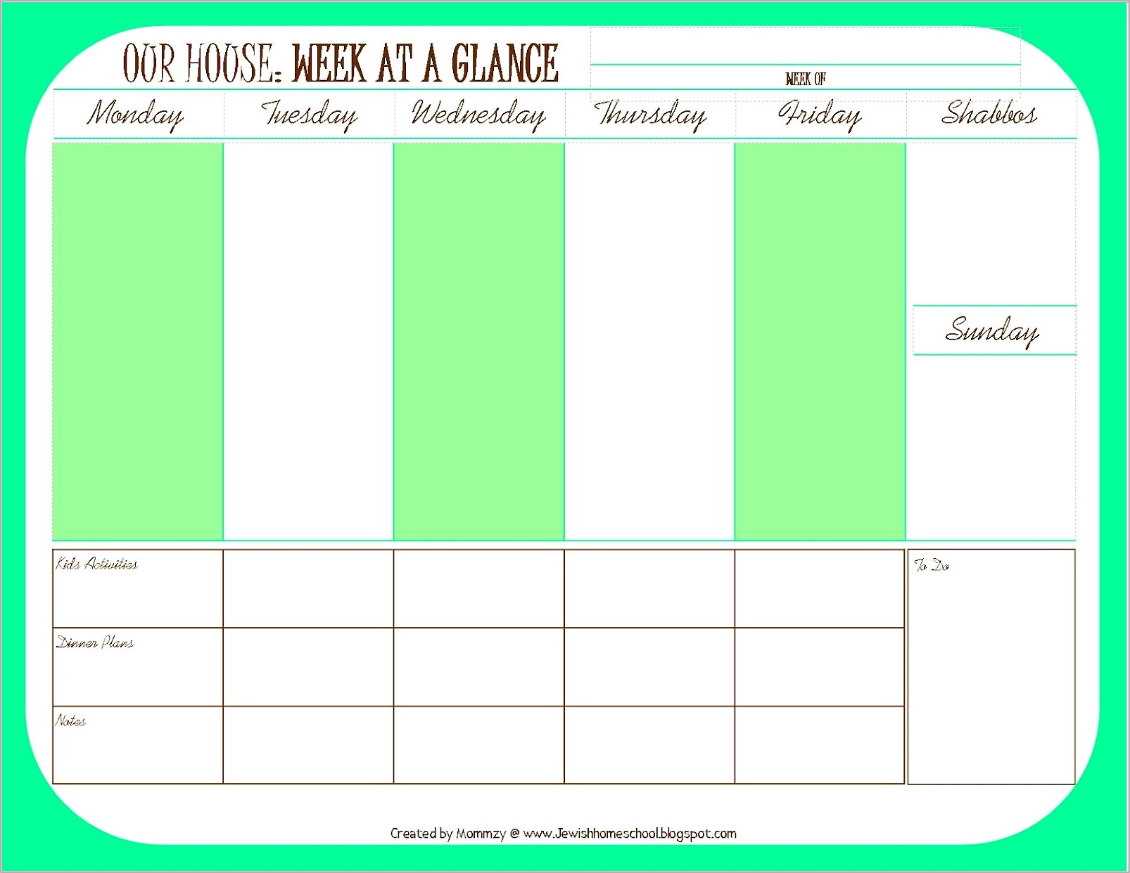 Monthly Work Schedule Template 2014