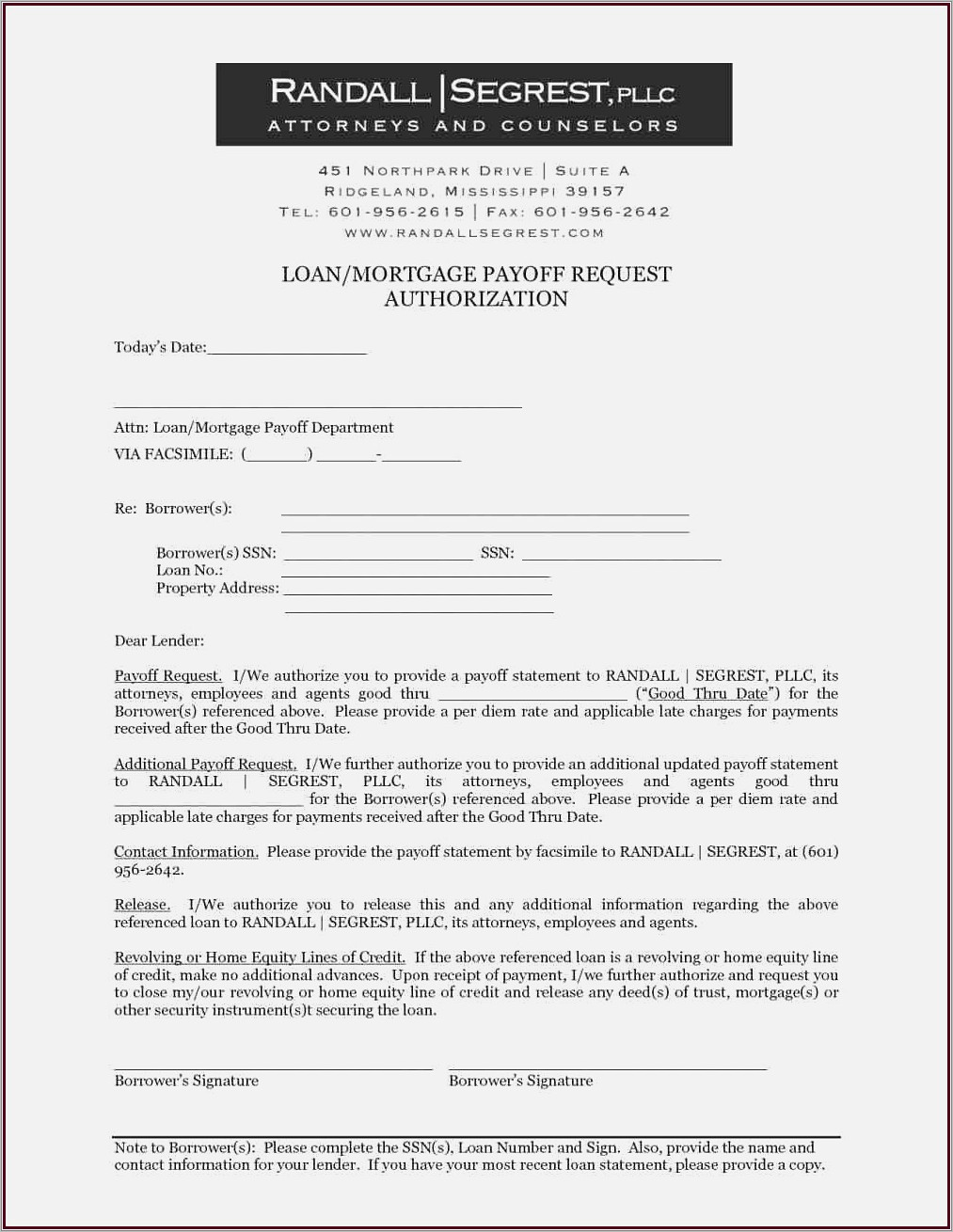 Mortgage Payoff Statement Template