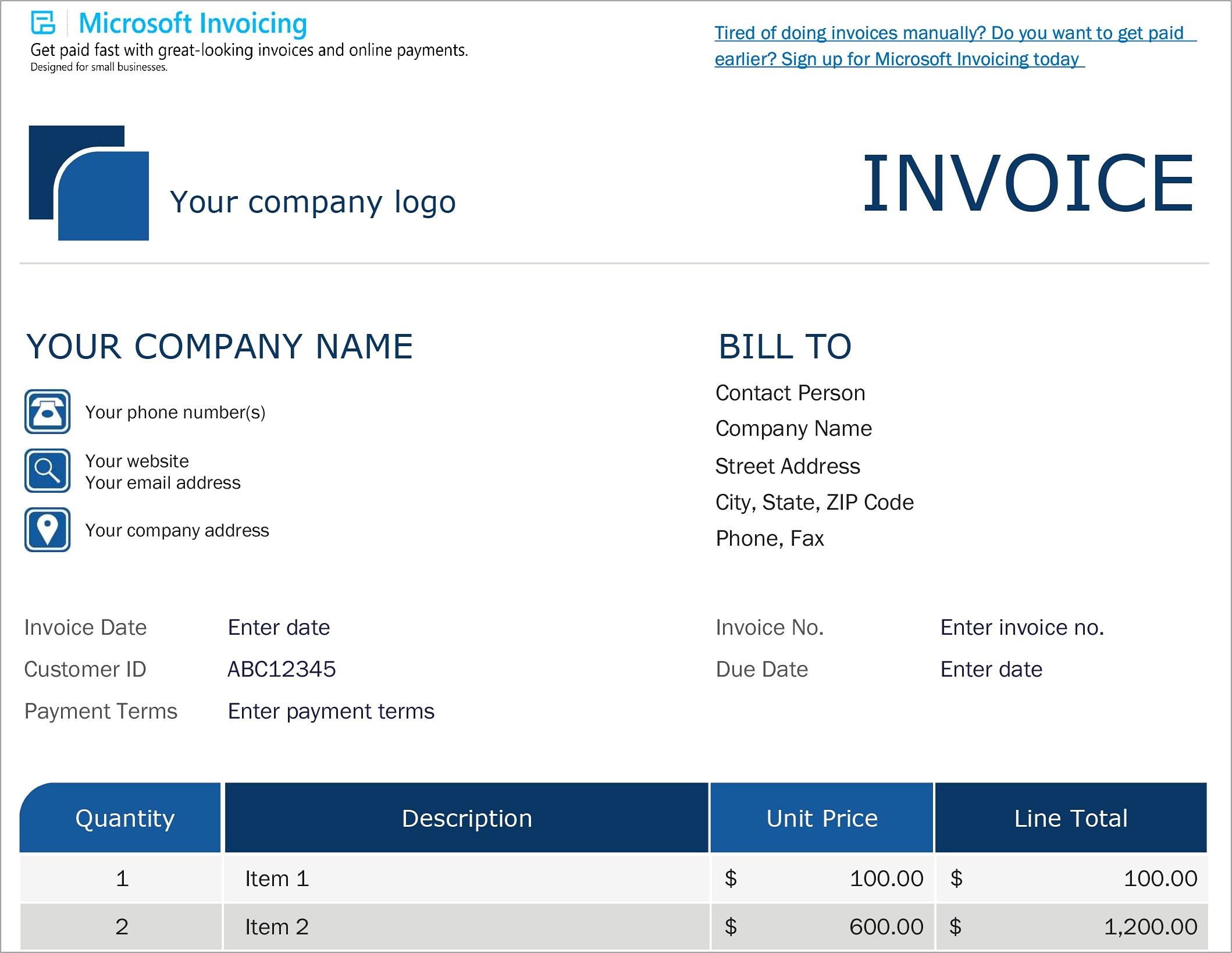 Ms Word Templates For Invoices