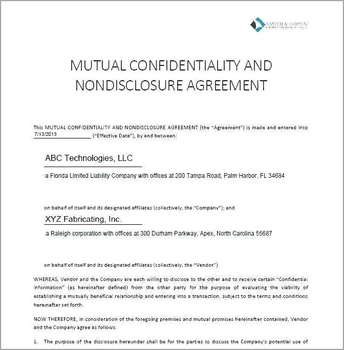 mutual non disclosure agreement template free