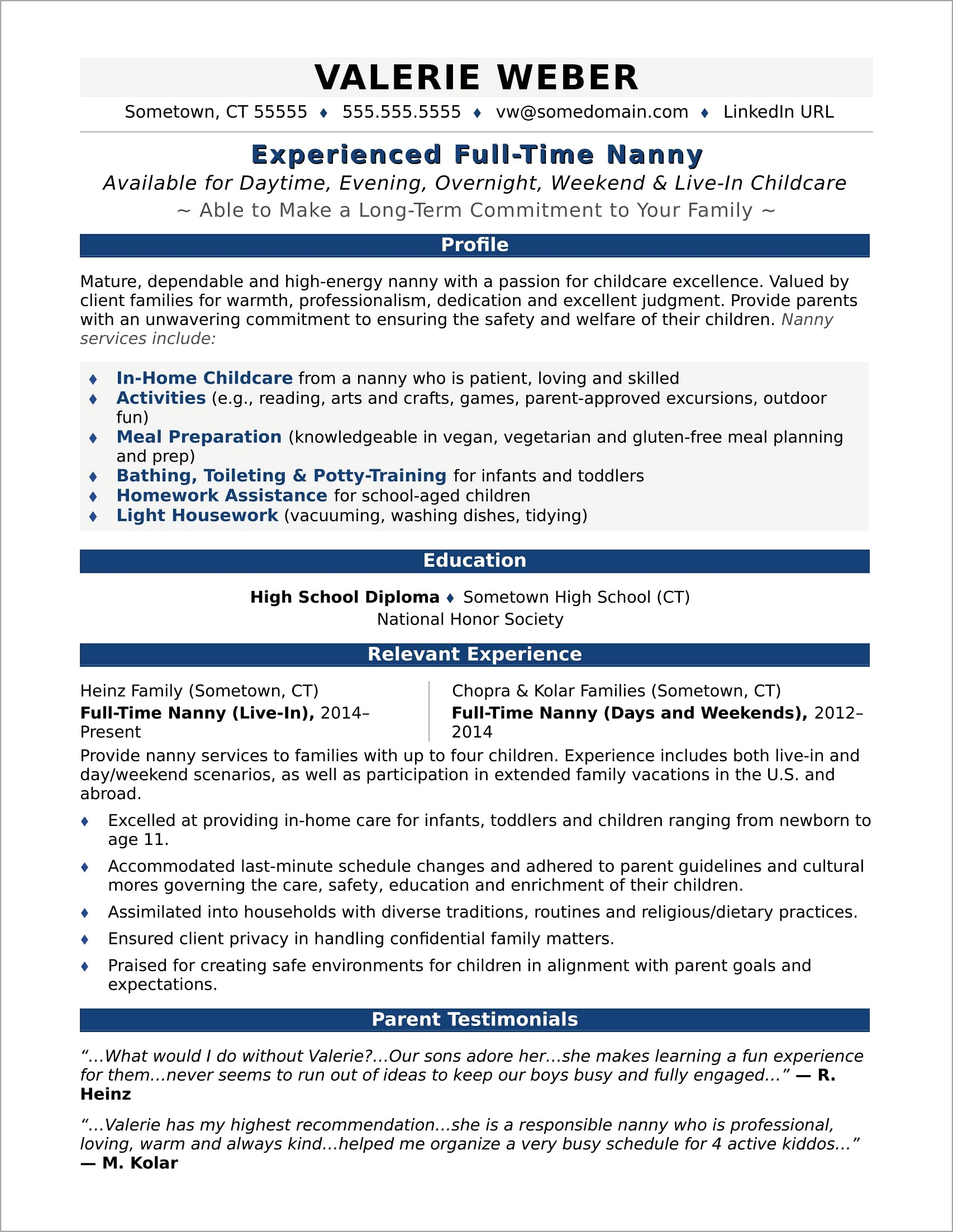 Nanny Resume Template Word