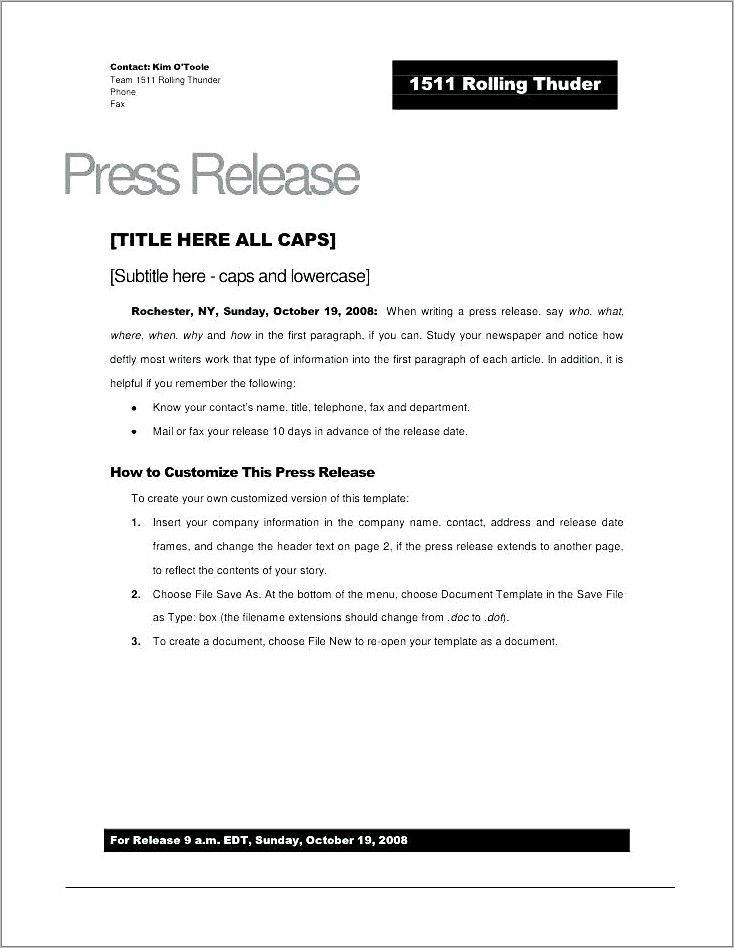 New Ceo Press Release Example