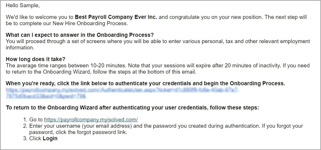 New Employee Onboarding Email Template