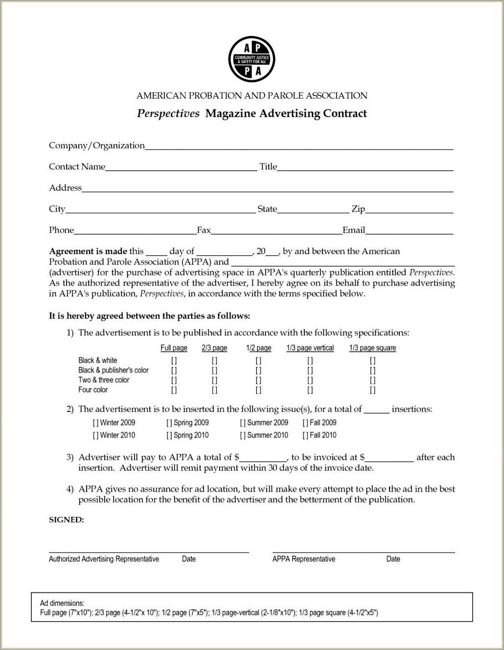 Newspaper Advertising Contract Form