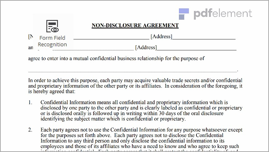Non Disclosure Agreement Free Template Download