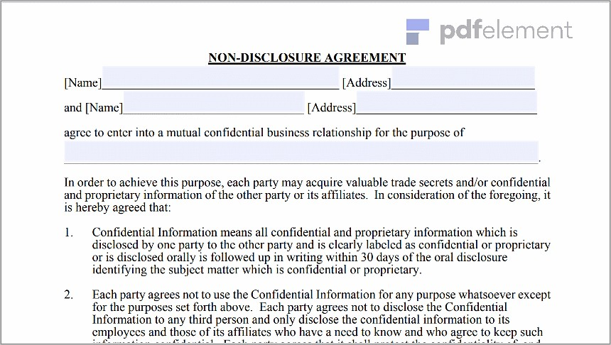 Non Disclosure Agreement Free Template Download (100)