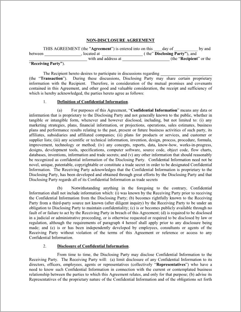 Non Disclosure Agreement Sample Word Document