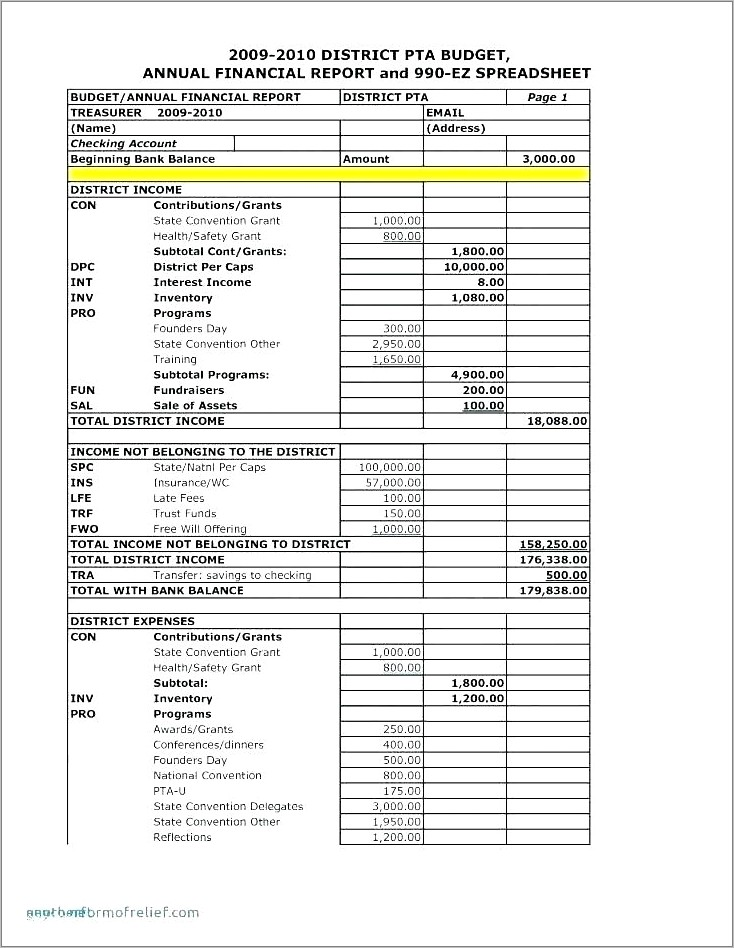 Non Profit Treasurers Report Example