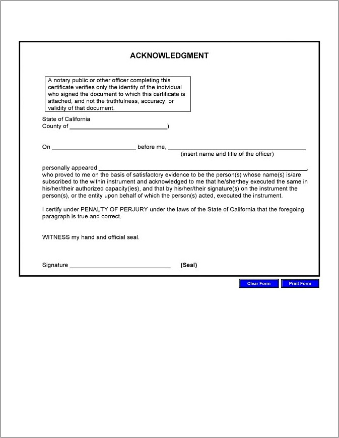 Notary Public Acknowledgement Form California