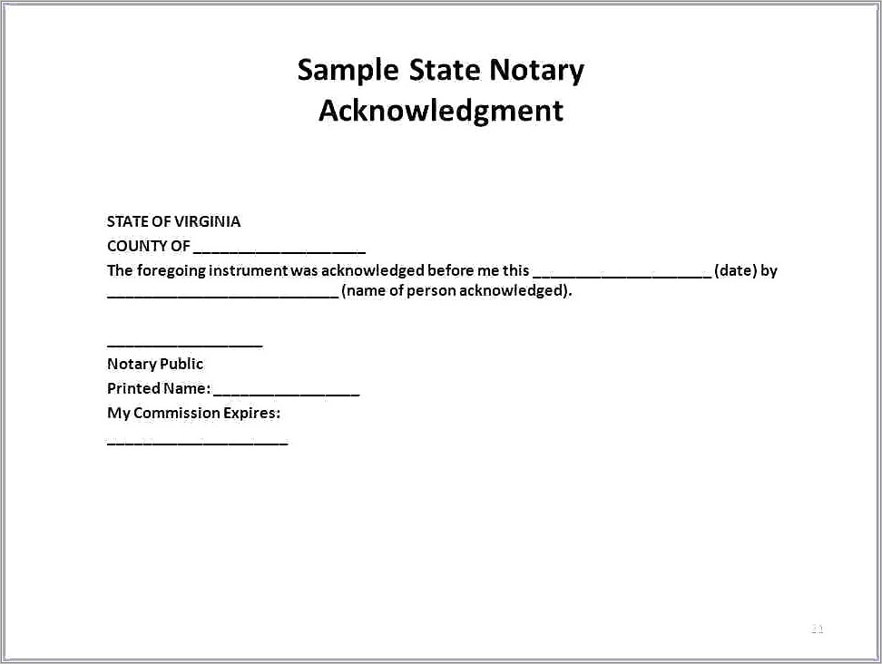 Notary Public Template Texas