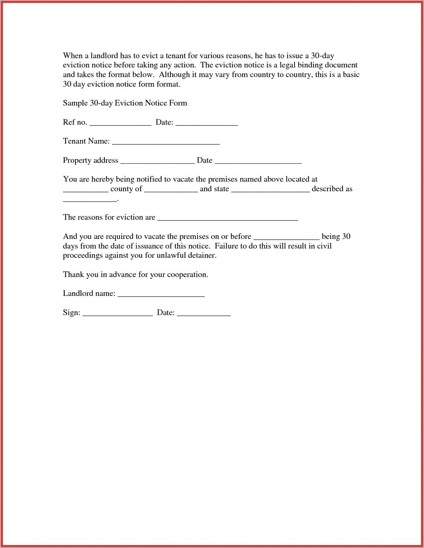 Notice Of Eviction Template Alberta