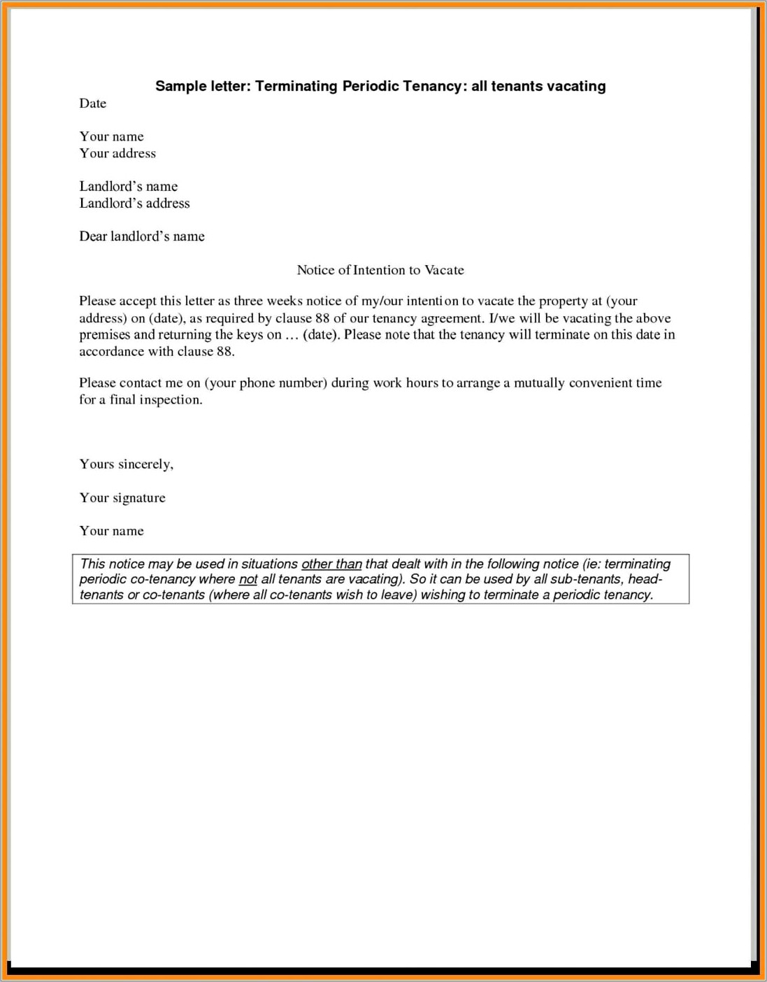 Notice Of Termination Of Service Contract Sample