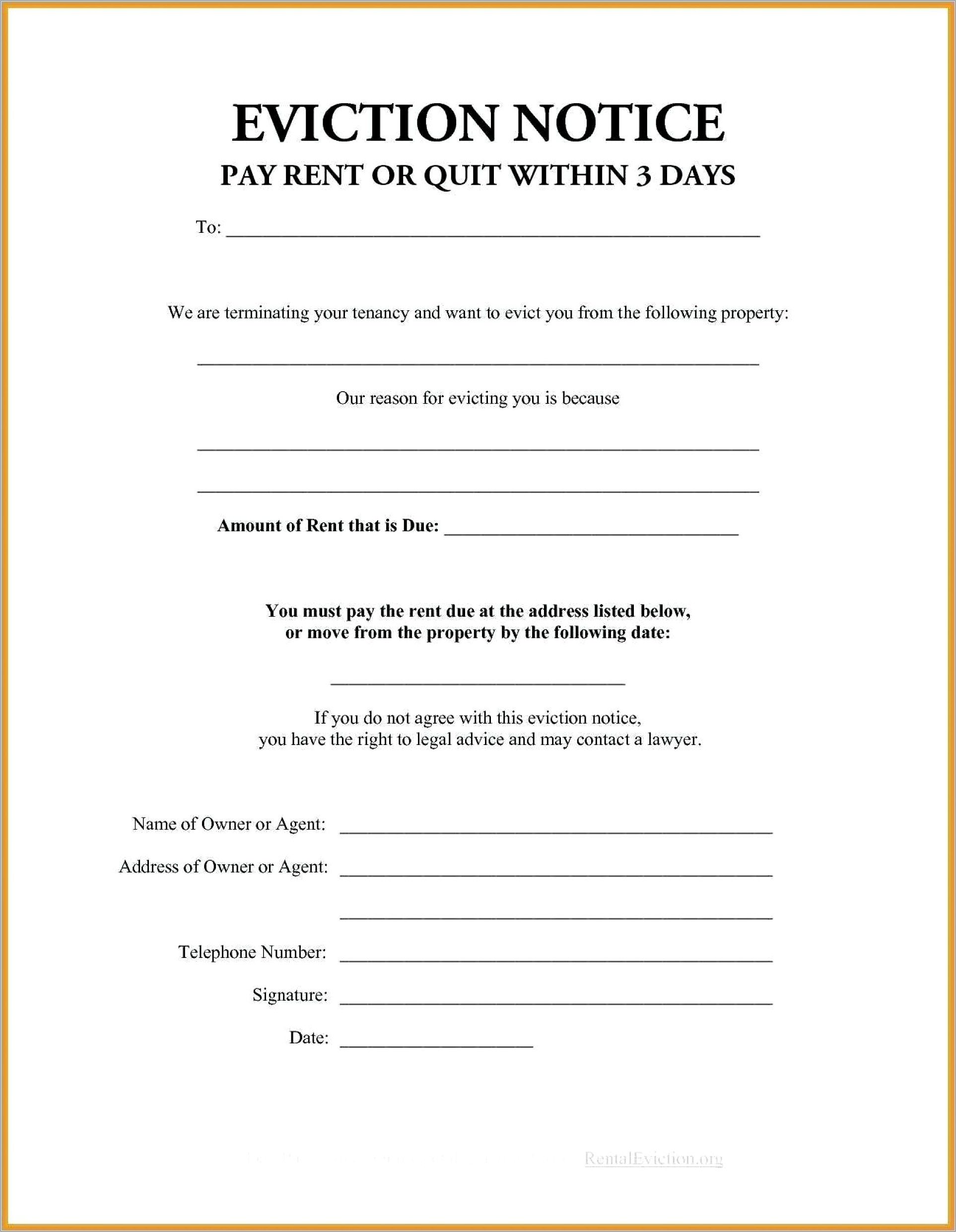 Notice To Pay Or Vacate Template
