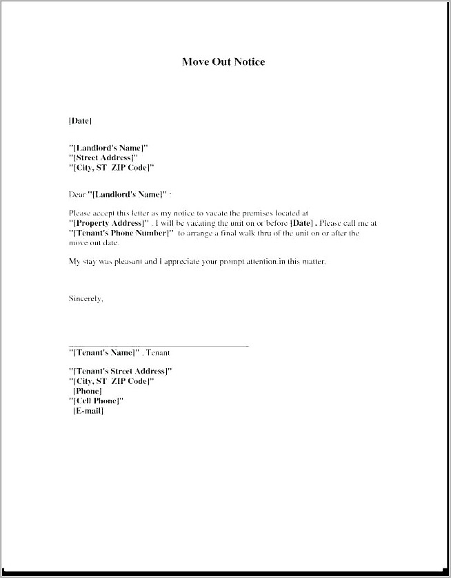 Notice To Quit Template For Tenant