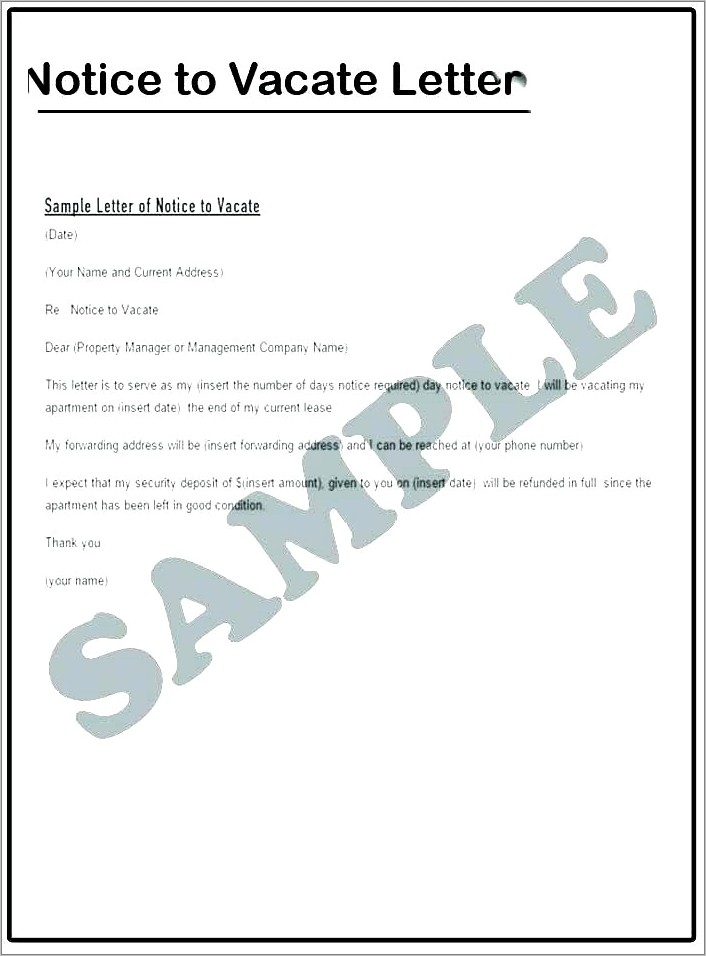 Notice To Vacate Premises South Africa Template