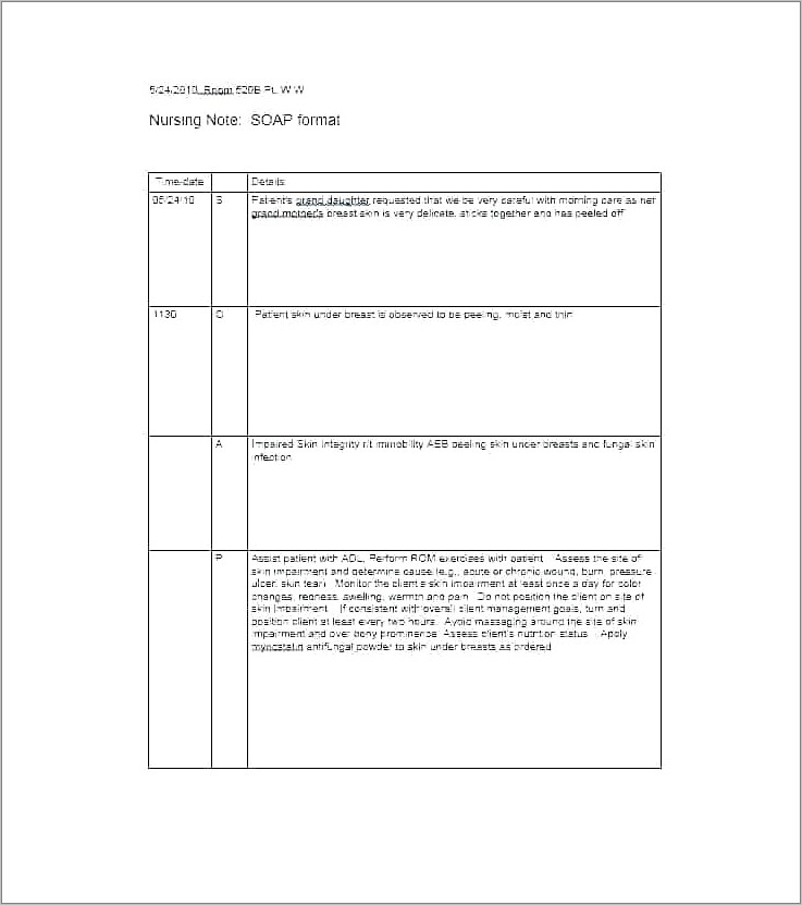 Nursing Progress Notes Sample