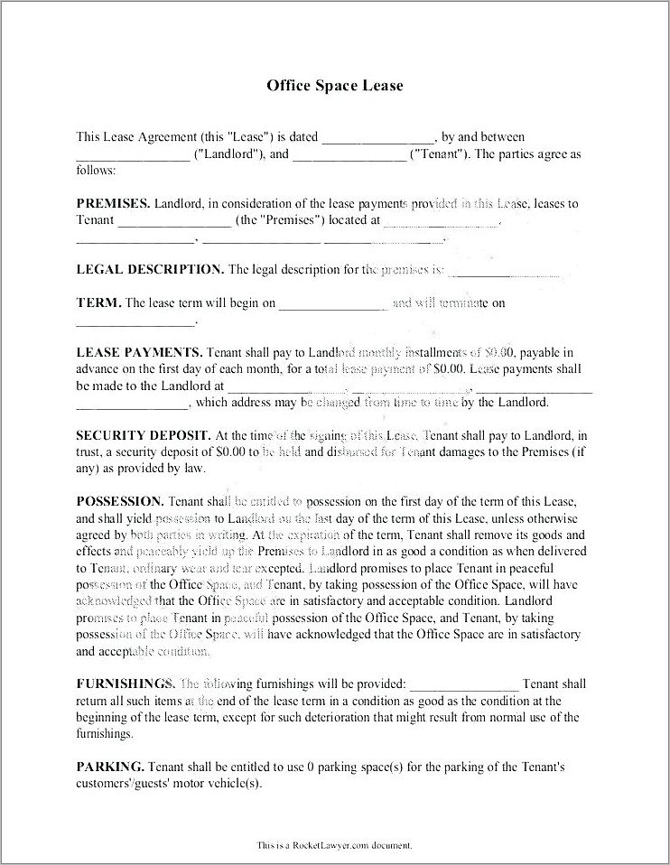 Office Space Lease Agreement Doc