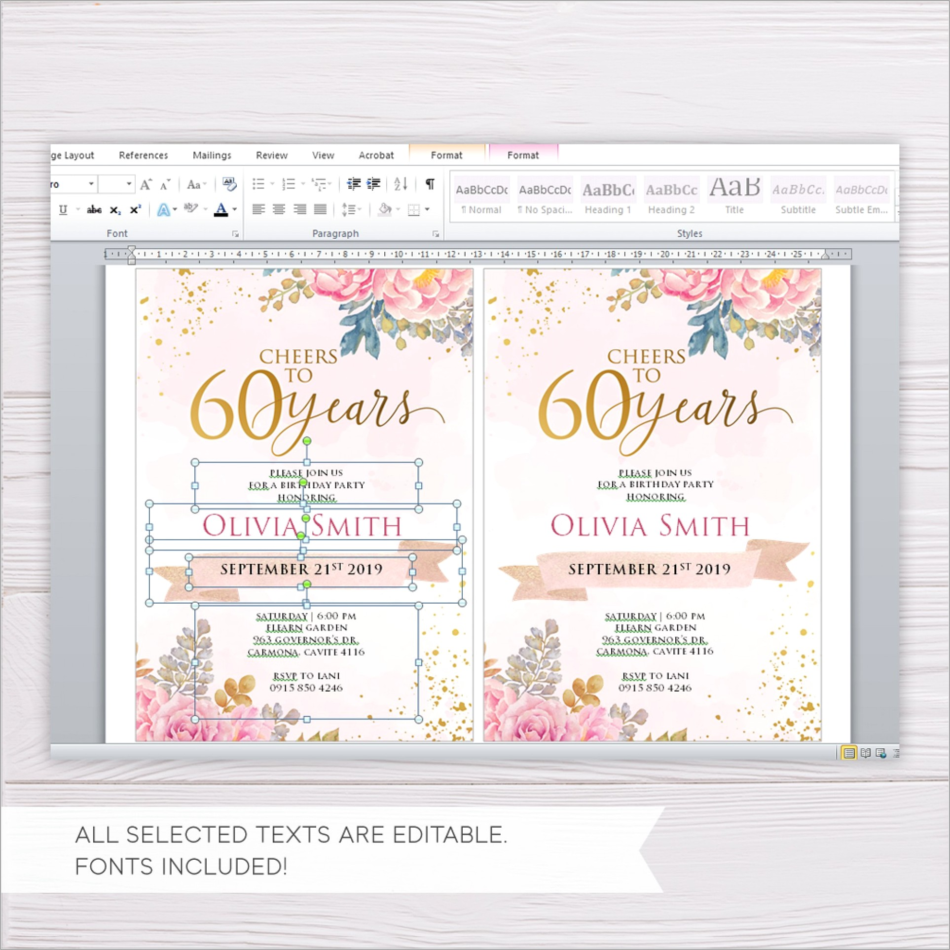 Online 60th Birthday Invitation Templates