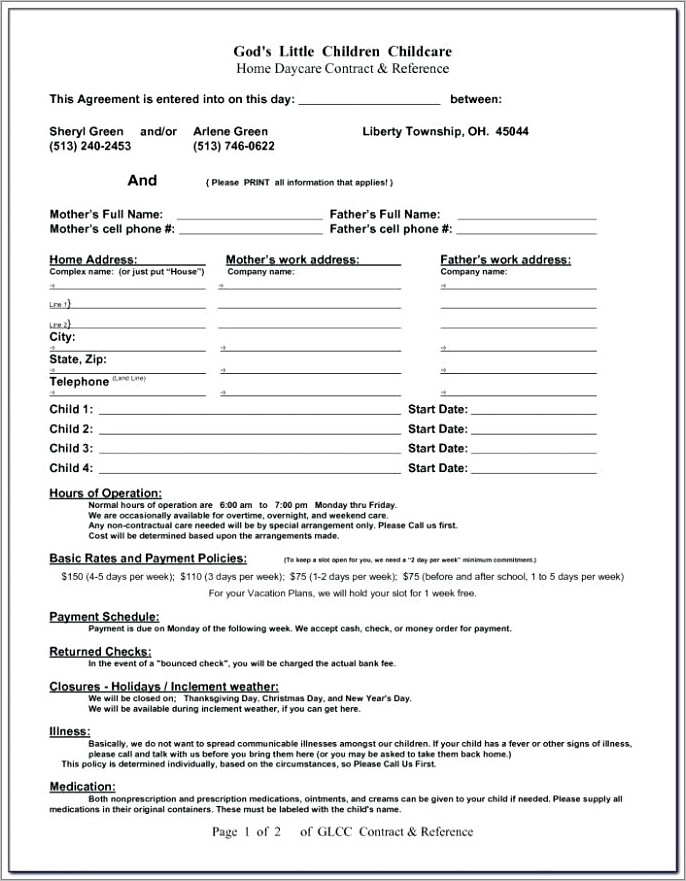 Ontario Home Daycare Contract Template