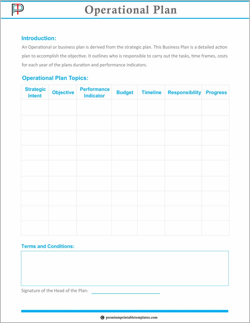 Operations Business Plan Example