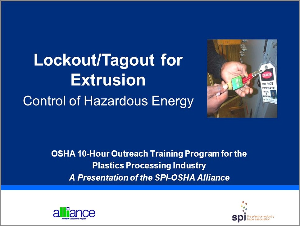 Osha Lockout Tagout Sample Written Program