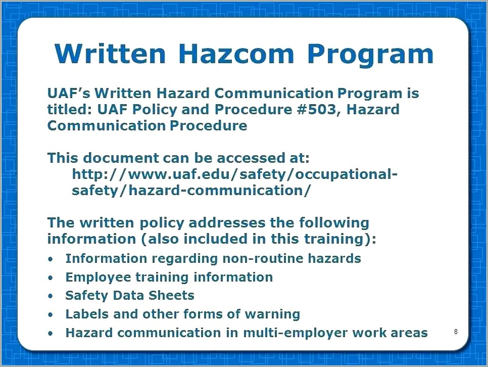 Osha Written Hazard Communication Program Template