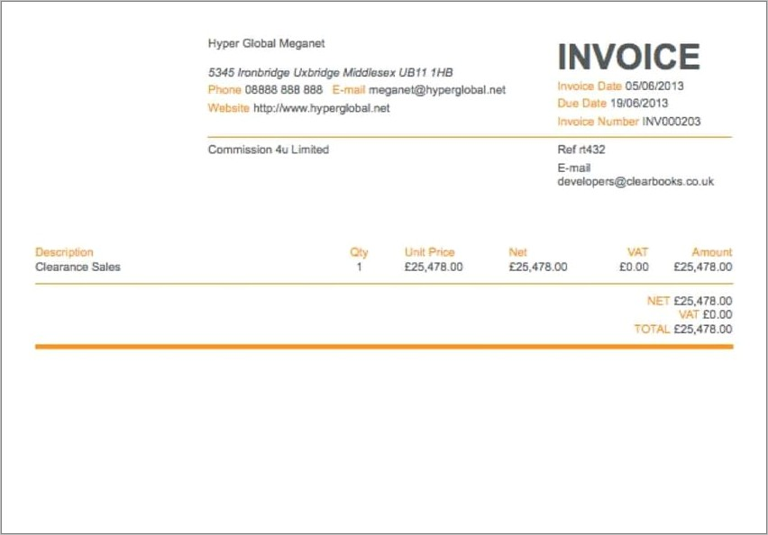 Outstanding Invoice Reminder Sample