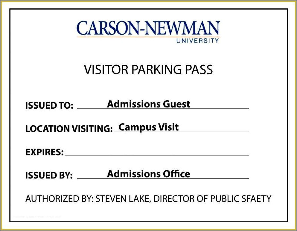 Parking Pass Template Free