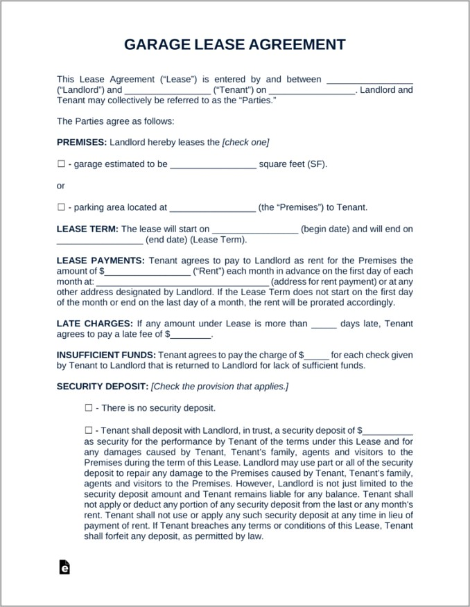 Parking Space Lease Agreement Pdf