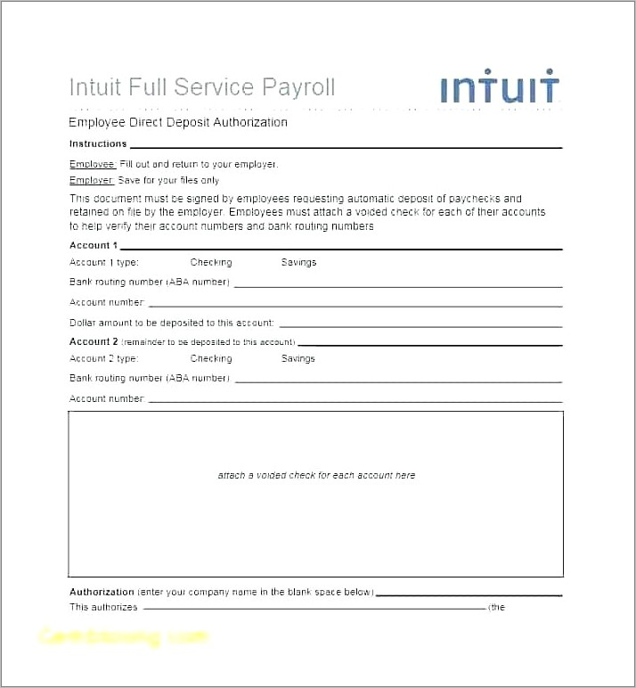 Payroll Direct Deposit Forms Templates