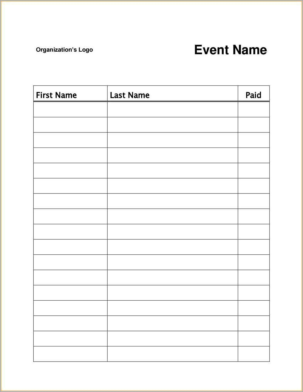 Payroll Sign In Sheet Template