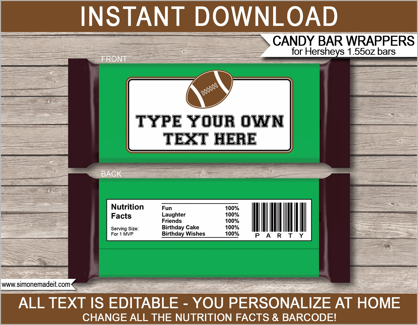 Personalized Hershey Wrappers Template