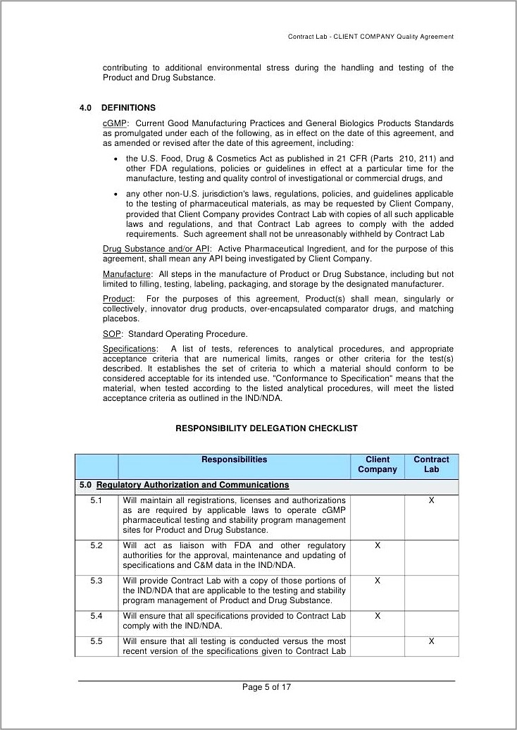 Pharmaceutical Contract Manufacturing Agreement Sample