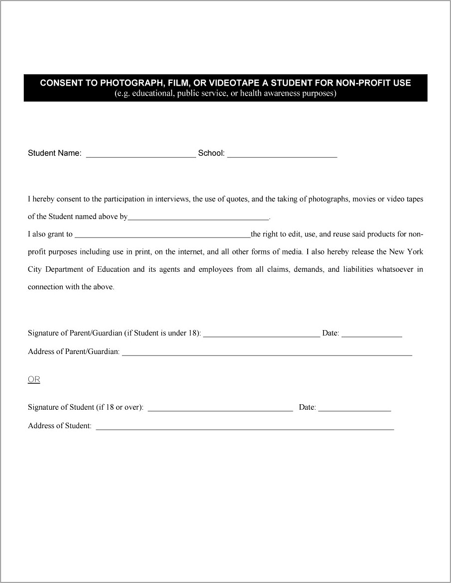 Photo Consent Form Template
